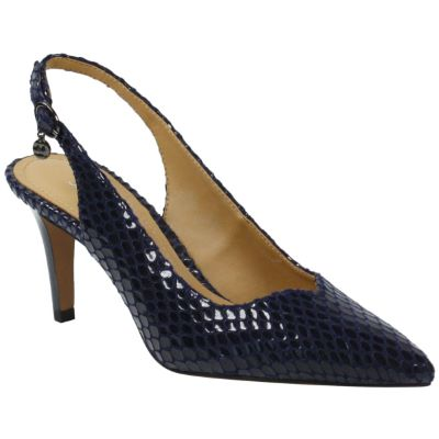 Front view of Belamie Navy Snake Print