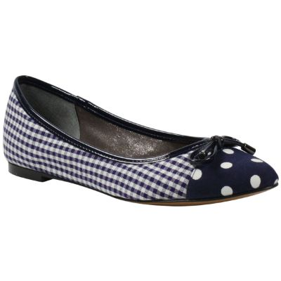 Front view of Charmyne Navy White Gingham and Polka Dot
