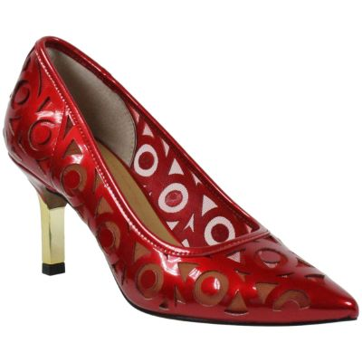 Front view of Jameena RED PEARL PATENT