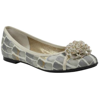 Front view of Mallantha Taupe Gold Croc Print