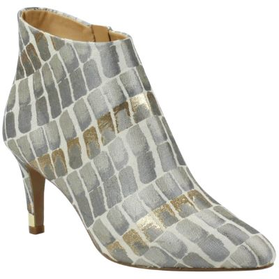 Front view of Ranae Taupe Gold Multi Croc Print