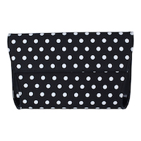 Front view of 10334-Convertible Clutch Bag Black White Polka Dot