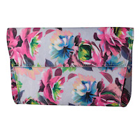 Front view of 10334-Convertible Clutch Bag Gray Blue Pink Multi Floral